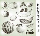 vintage set of fresh fruits... | Shutterstock .eps vector #468472577