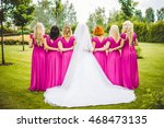 bride with bridesmaids in a... | Shutterstock . vector #468473135