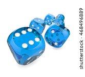 blue dices. 3d render of 6 blue ... | Shutterstock . vector #468496889