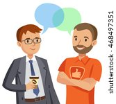 two man talking. meeting of... | Shutterstock .eps vector #468497351