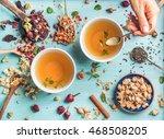 two cups of healthy herbal tea...   Shutterstock . vector #468508205