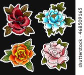 traditional tattoo flowers set... | Shutterstock .eps vector #468509165