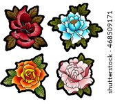 traditional tattoo flowers set... | Shutterstock .eps vector #468509171