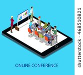 isometric online conference... | Shutterstock .eps vector #468510821
