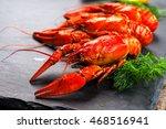 Red Boiled Crayfish Or Crawfis...