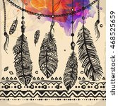vintage feathers ethnic pattern ... | Shutterstock .eps vector #468525659
