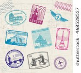 travel stamps with europe... | Shutterstock .eps vector #468528527