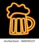 icon of neon orange mug of beer ... | Shutterstock .eps vector #468540137