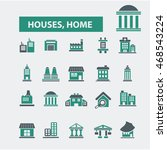houses  home icons | Shutterstock .eps vector #468543224