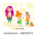 pupils characters communication   Shutterstock .eps vector #468543371