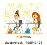 boy and girl characters...   Shutterstock .eps vector #468543425