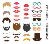 set of mustache  beards ... | Shutterstock .eps vector #468546665