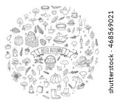hand drawn doodle autumn icons... | Shutterstock .eps vector #468569021
