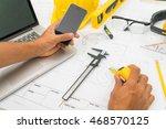 hand over construction plans... | Shutterstock . vector #468570125