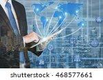 double exposure of business man ... | Shutterstock . vector #468577661