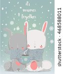 cute winter hares with scarf... | Shutterstock .eps vector #468588011