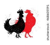 chinese zodiac  rooster.... | Shutterstock .eps vector #468605591