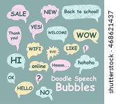 set of doodle speech bubbles on ... | Shutterstock .eps vector #468621437