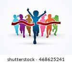 winner running  group of... | Shutterstock .eps vector #468625241