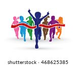 winner running  group of... | Shutterstock .eps vector #468625385