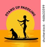 stand up paddle board sunset... | Shutterstock .eps vector #468633599