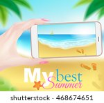 summer beach photography with... | Shutterstock .eps vector #468674651