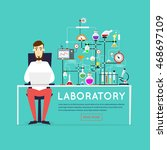 scientist working in laboratory ... | Shutterstock .eps vector #468697109