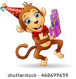 happy monkey cartoon... | Shutterstock . vector #468699659