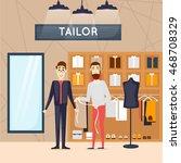 fashion shop man. tailor. shop... | Shutterstock .eps vector #468708329