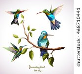 humming birds. set of four... | Shutterstock .eps vector #468710441