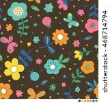 cute flower  butterfly and...   Shutterstock .eps vector #468714794