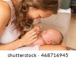 baby newborn mother holding... | Shutterstock . vector #468716945