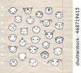hand drawn doodle cartoon faces ... | Shutterstock .eps vector #468719615