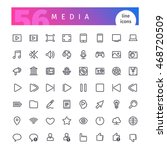 set of 56 media line icons... | Shutterstock .eps vector #468720509