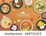 thai food on a wooden... | Shutterstock .eps vector #468721415