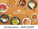 halal food on a wooden... | Shutterstock .eps vector #468722009