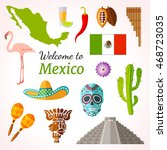 mexico travel banner with icons ... | Shutterstock .eps vector #468723035