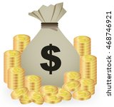 stacks of gold coins and money...   Shutterstock .eps vector #468746921