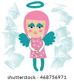 smiling little angel girl with... | Shutterstock . vector #468756971