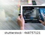 businessman hand attending... | Shutterstock . vector #468757121