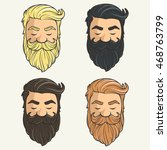 set of heads hipsters mustache... | Shutterstock .eps vector #468763799