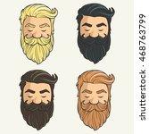 set of heads hipsters mustache... | Shutterstock .eps vector #468763799