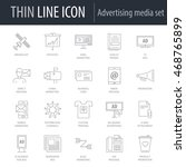thin line icons of advertising... | Shutterstock .eps vector #468765899