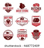 set of butchery red and brown... | Shutterstock .eps vector #468772409