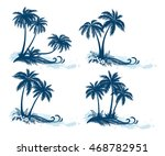 set tropical landscapes  palm... | Shutterstock . vector #468782951