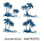 set tropical landscapes  palm... | Shutterstock . vector #468782951