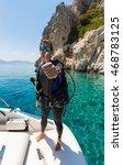 male scuba diver shows the... | Shutterstock . vector #468783125