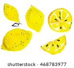 watercolor   lemon  | Shutterstock . vector #468783977