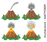 vector set of volcano eruption... | Shutterstock .eps vector #468793889