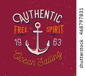 nautical themed t shirt print.... | Shutterstock .eps vector #468797831